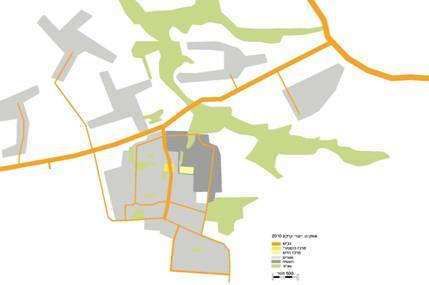 ייעודי קרקע עיקריים באופקים וסביבתה: המרכז העירוני ההיסטורי מופיע לצד הרחוב הראשי של העיר בעוד המרכז המסחרי החדש שוכן באזור התעשיה ומחוץ לחיים העירוניים