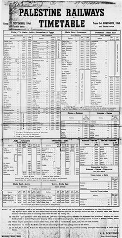 PR Timetable - 01.11.1946